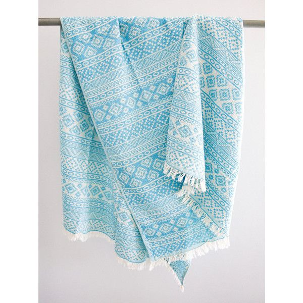 Turquoise Beach Towel Southwestern Pattern Throw Blanket Aztec Pool... ($29) ❤ liked on Polyvore featuring home, bed & bath, bath, beach towels, bathroom, black, home & living, pattern beach towel, aztec beach towel and turkish beach towels