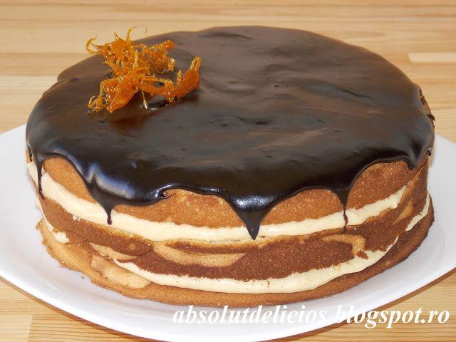 Tort cu crema de caramel si glazura de cacao, blat de tort, crema de caramel, glazura de cacao