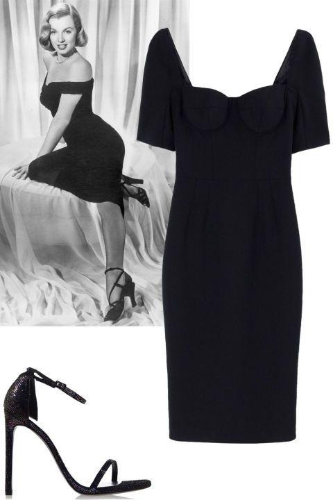 Hiphugging dress, midi length + strappy black heels Dolce & Gabbana dress, $2,945, shopBAZAAR.com; Stuart Weitzman heel, $415, shopBAZAAR.com.