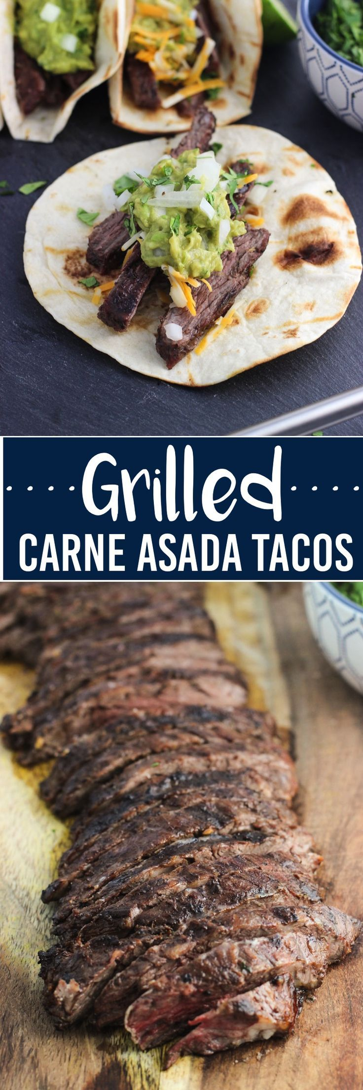 These grilled carne asada tacos feature tender, marinated skirt steak, grilled tacos, and all of your favorite toppings.