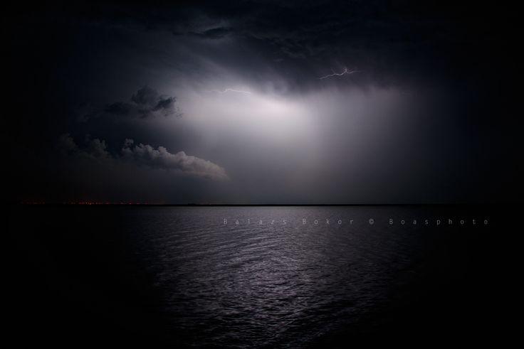 Last lightning over the lake neusiedlersee
