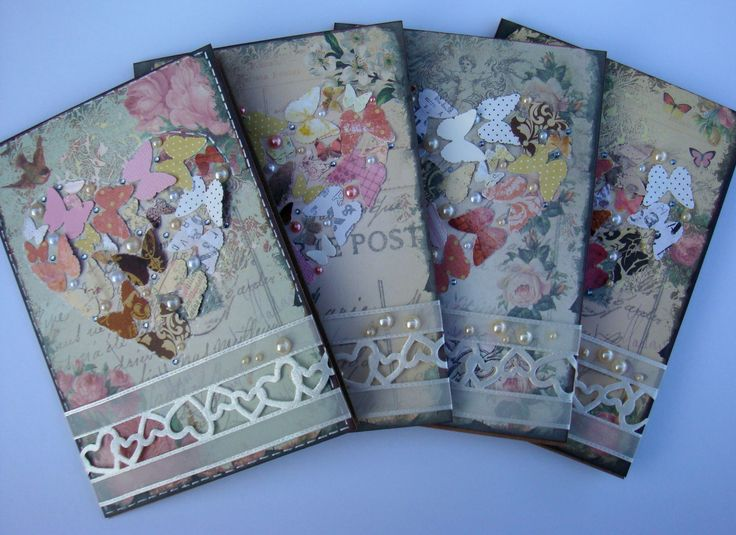 Cards using La Blanche papers as background fot the butterflies.