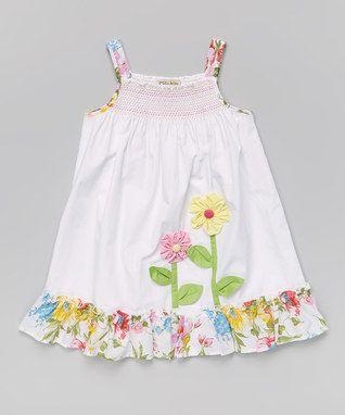 White Smocked Floral Dress - Toddler Girls