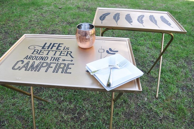 TV trays turned camping sidetables!