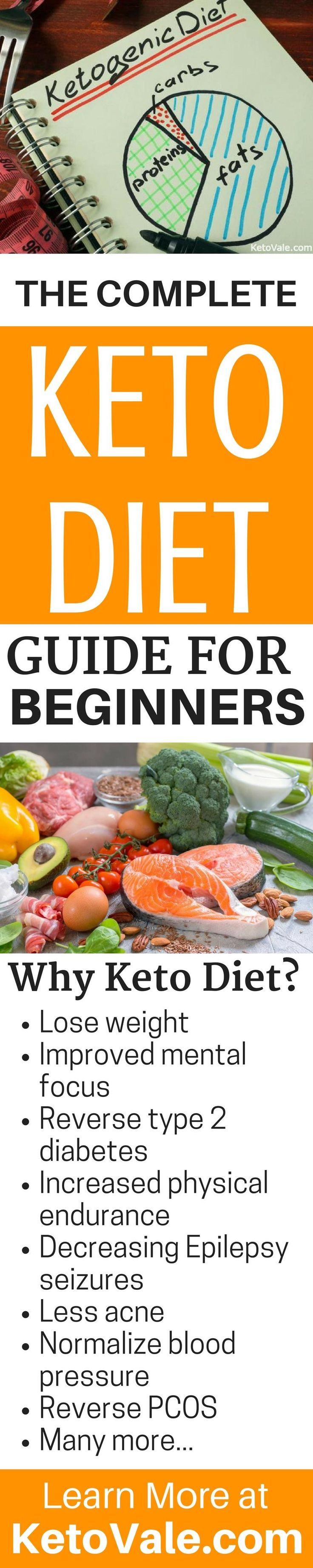 There are many reasons why you should follow the ketogenic diet. This Complete Keto Diet Guide For Beginners will explain all the benefits including Lose weight, Improved mental focus, Reverse type 2 diabetes, Increased physical endurance, Decreasing Epilepsy seizures, Less acne, Normalize blood pressure, Reverse PCOS and many other benefits. Read it at https://www.ketovale.com/