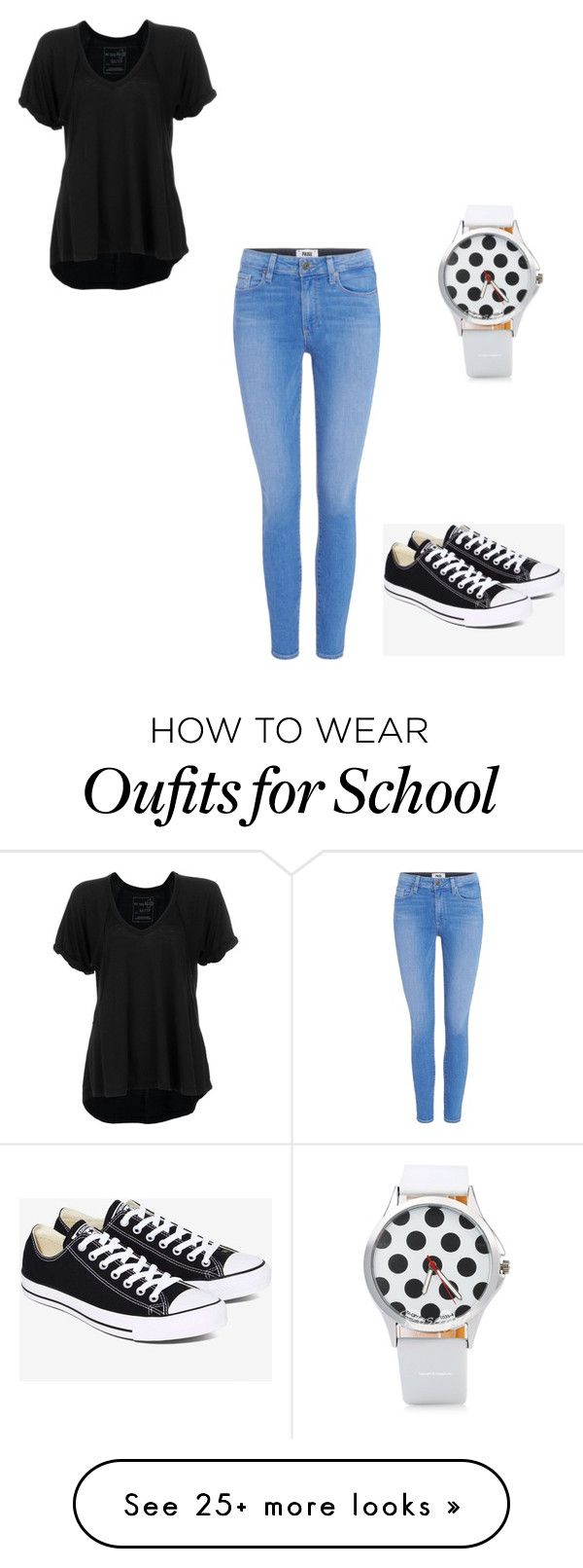 """school"" by samcates on Polyvore featuring Free People, Paige Denim and Converse"