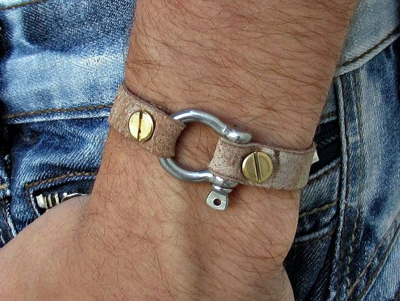 Mens Leather Bracelet Mens Nautical Key Leather by GUSFREE on Etsy
