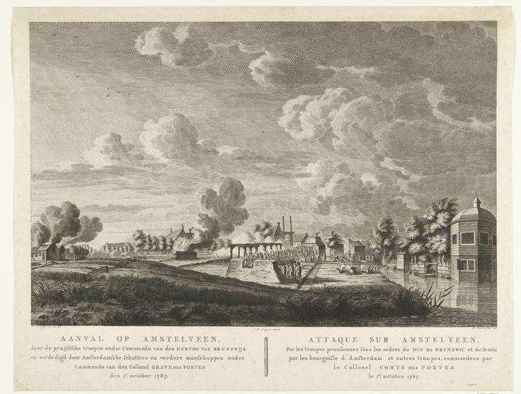 Pruisische troepen vallen Amstelveen aan dat wordt verdedigd door Amsterdamse schutters op 1 oktober 1787, Cornelis Brouwer, Dirk Meland Langeveld, 1791