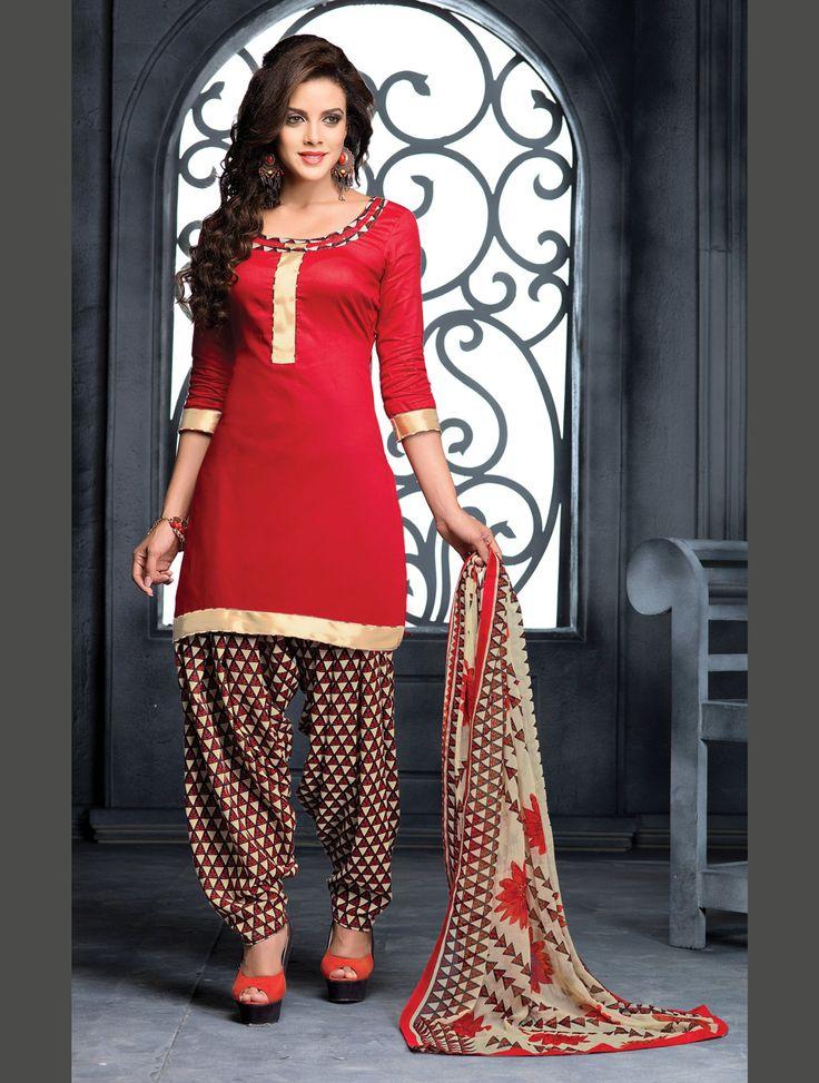 Red Cotton Punjabi Suit 70020