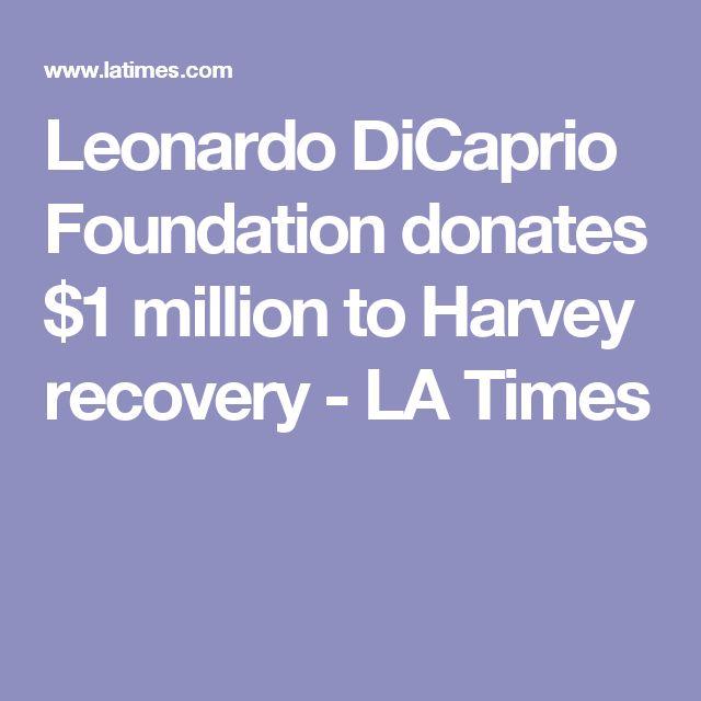 Leonardo DiCaprio Foundation donates $1 million to Harvey recovery - LA Times