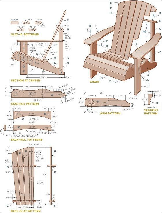Adirondack chair plans free pdf woodworking pinterest for Planos silla ergonomica pdf