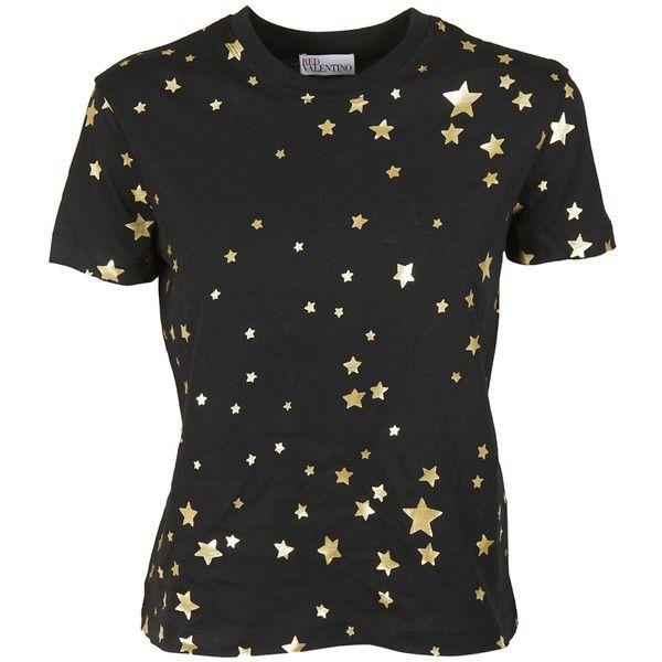 Star Print T Shirt ($126) ❤ liked on Polyvore featuring tops, t-shirts, black, metallic top, metallic t shirt, metallic tee, short sleeve cotton tops and star tee