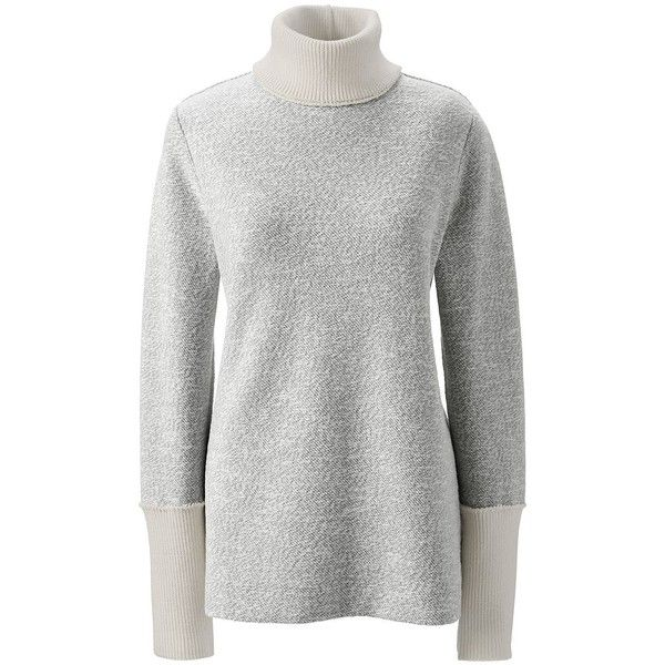 Lands' End Women's Petite Slouchy Turtleneck - Starfish ($69) ❤ liked on Polyvore featuring tops, sweaters, grey, turtleneck sweater, petite tops, gray sweater, lands end sweaters and polo neck sweater