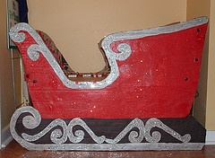 Santa's Sleigh built from a cardboard box