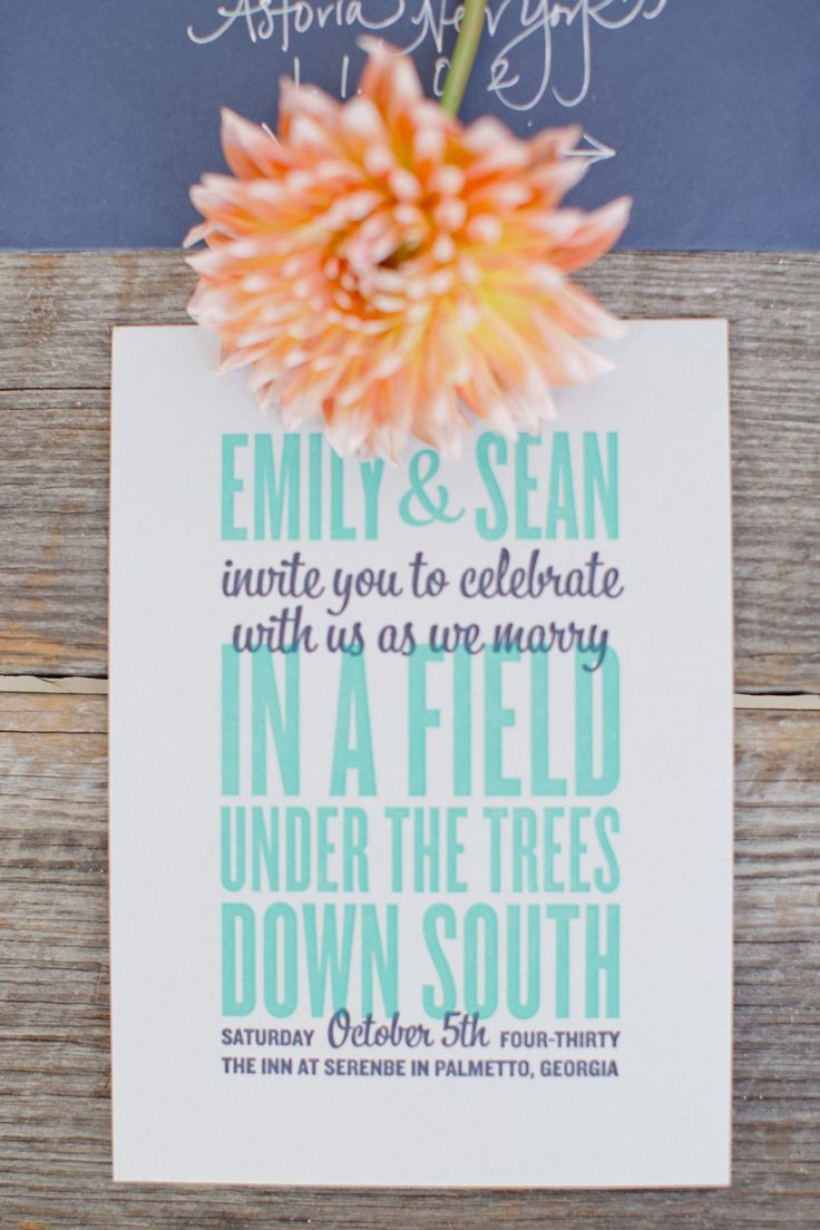 Colorful Southern Wedding In Palmetto Georgia Invitation WordingWedding