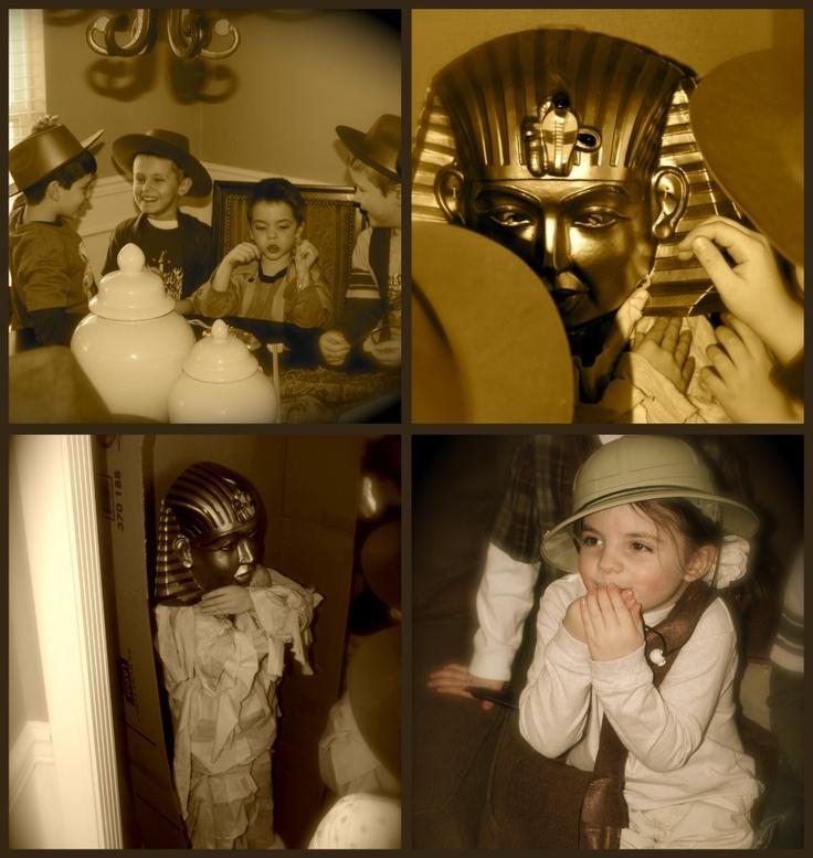 Indiana Jones feestje; met een jacht naar de schat speurtocht; ook leuk voor Halloween