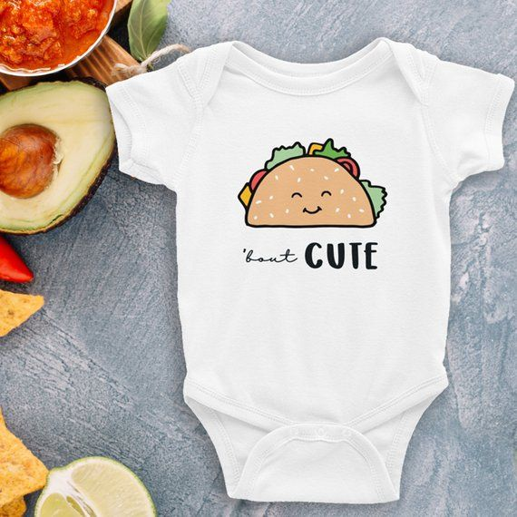 Taco Bout Cute Baby Bodysuit Mexican food shirt kawaii taco shirt Funny Mexican Bodysuit Mexican Baby Shower Mexican Baby Gift