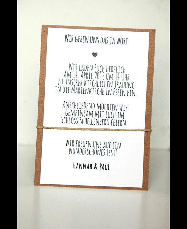 **10er Einladungs- oder Danksagungskarten-Set für Eure Hochzeit**  **Das Set besteht aus:**  - 10 unbedruckten Kraftpapierkarten in der Größe A6 - ca. 280g   (auf Wunsch auch in anderen Größen...