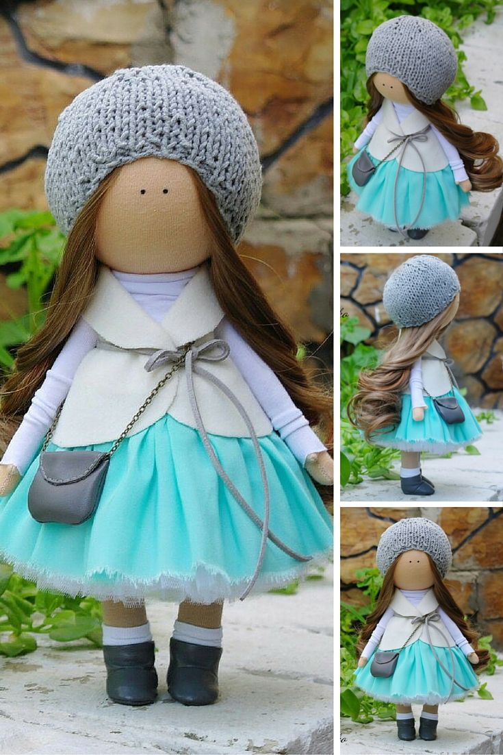 Textile doll handmade Tilda doll Rag doll Baby doll grey aqua colors soft doll…