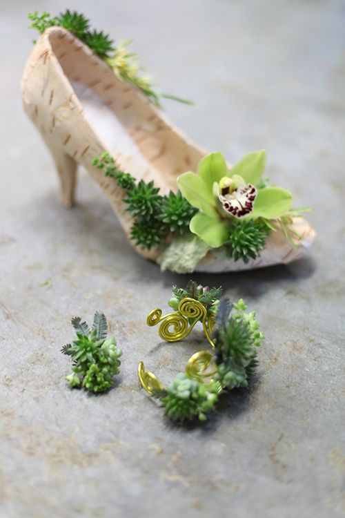 Floral shoe, bracelet and ring with birch bark, succulents, mini crassula, acacia, mini leucadenron, and a mini green cymbidium orchid, by Floral Verde LLC in Cincinnati, OH.