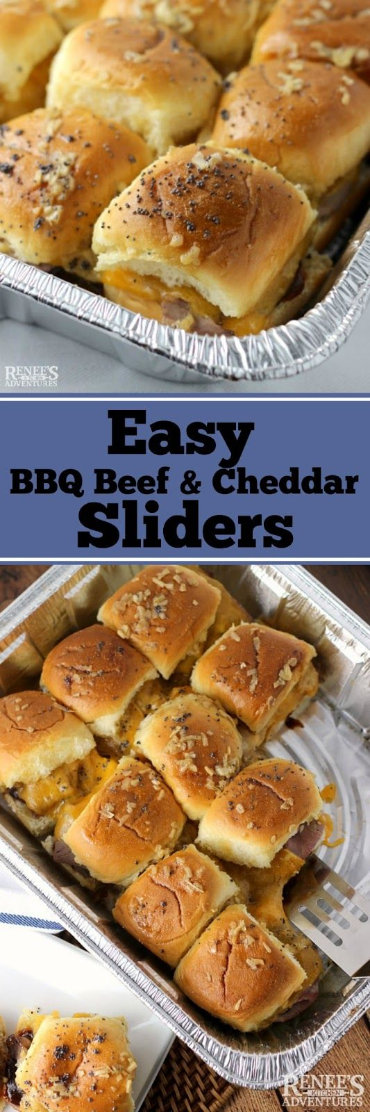 Easy BBQ Beef and Cheddar Sliders | easy appetizer recipe for slider sandwiches made with roast beef and cheddar cheese perfect football food.
