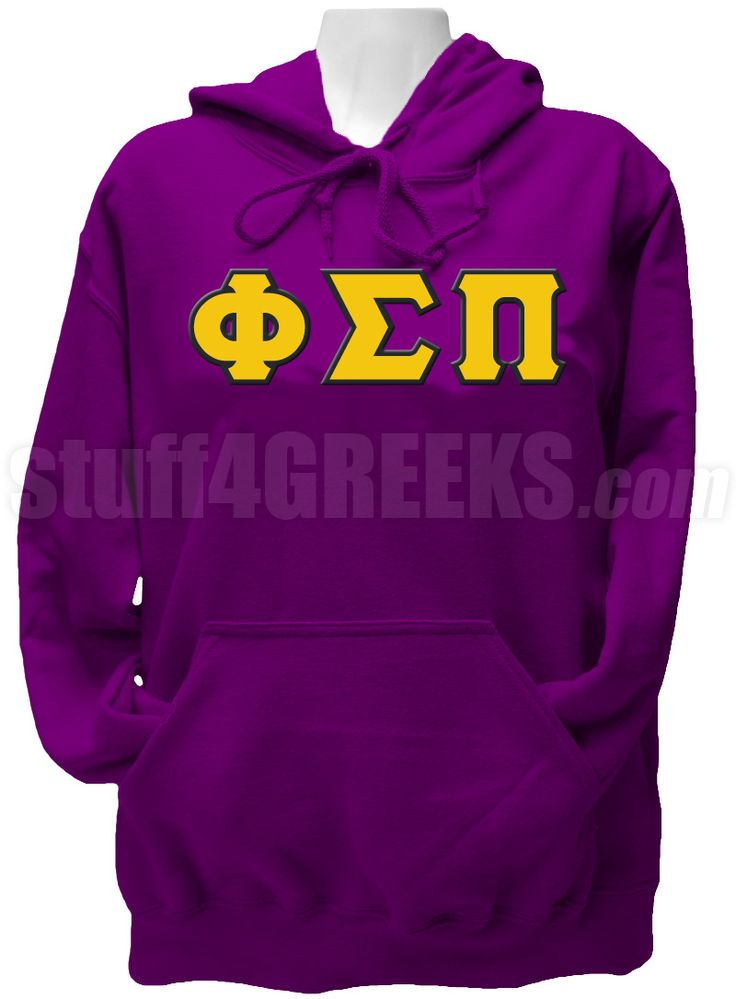 purple phi sigma pi pullover hoodie sweatshirt with gold and white greek letters across the chest