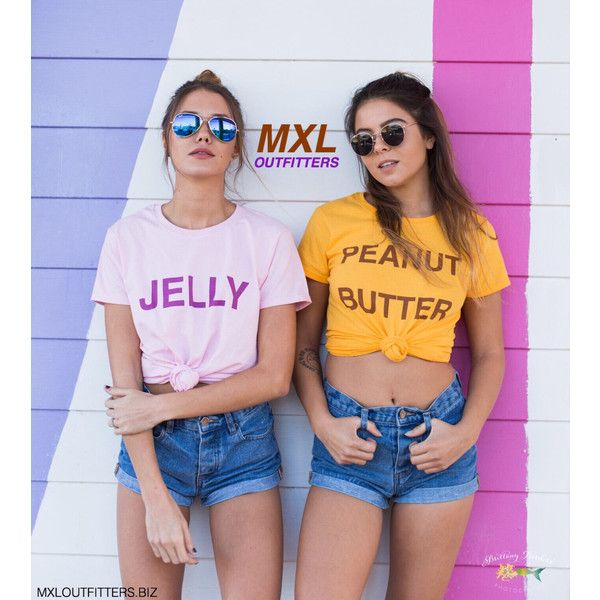 Peanut Butter and Jelly T-Shirt Set ($40) ❤ liked on Polyvore featuring tops, t-shirts, silver, women's clothing, tee-shirt, shirt top, pre shrunk t shirts, low top and t shirt