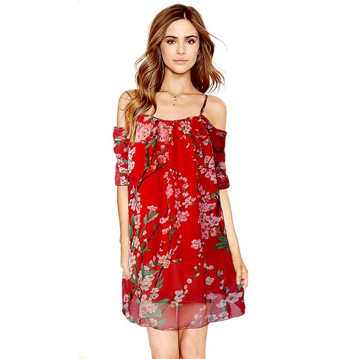 Portugal Euro 2017 Summer Sundresses lady Naked Off Shoulder Red Plum Flower Chiffon Short Slip Dress Montre Femme Vestido Curto #Affiliate