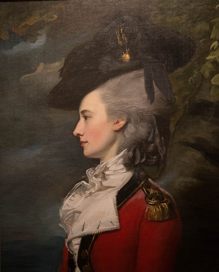 1778 Frances Montresor by John Copley. For her portrait, Mrs. John Montresor wore a costume that was in the latest style, a female riding habit adapted from the military uniform. The tall headdress topped off with an elegant black hat trimmed with feathers was also the height of fashion. Copley's 1771portrait of Mr. John Montresor shows him in a pensive mood, whereas Mrs. Montresor poses in a classical profile redolent of antique cameos and coins.