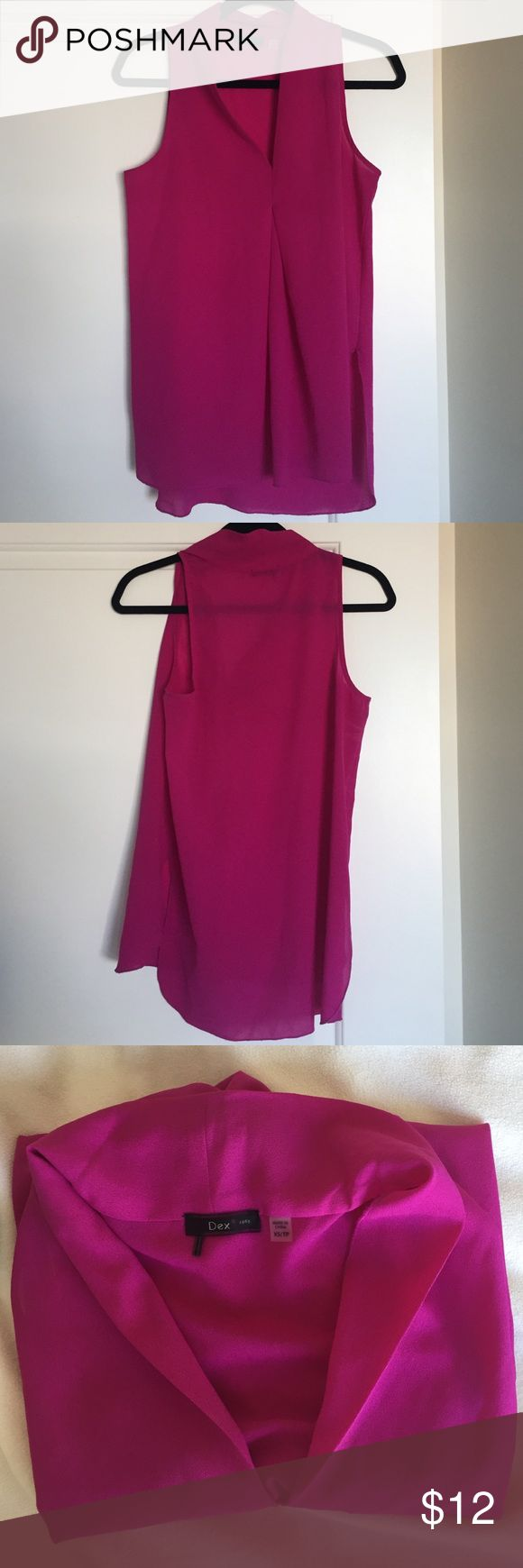 NM LAST CALL Dex fuchsia blouse Very vibrant fuchsia blouse! Runs big so could fit a S/M. Gathered in the front. Neiman Marcus Tops Blouses