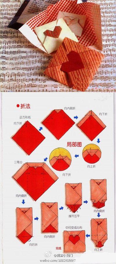 sobres corazón origami