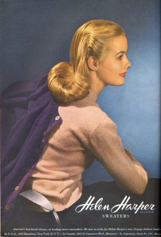 A beautiful hairstyle from a 1944 Ad campaign for Helen Harper Knit wear