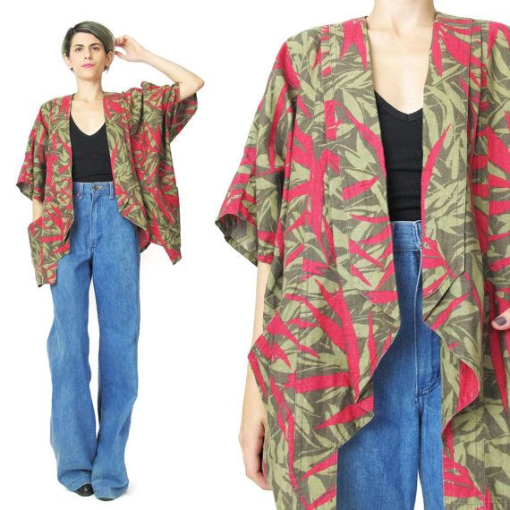 1980s Cocoon Duster Jacket Tropical Print Palm by honeymoonmuse
