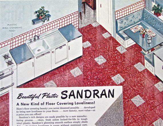 1950s KITCHEN FLOOR DECOR Ad Vintage Magazine Vinyl Tile Print Advertisement Sandran Linoleum Plastic Atomic Age