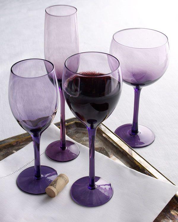 """Midnight"" Lavender glassware"