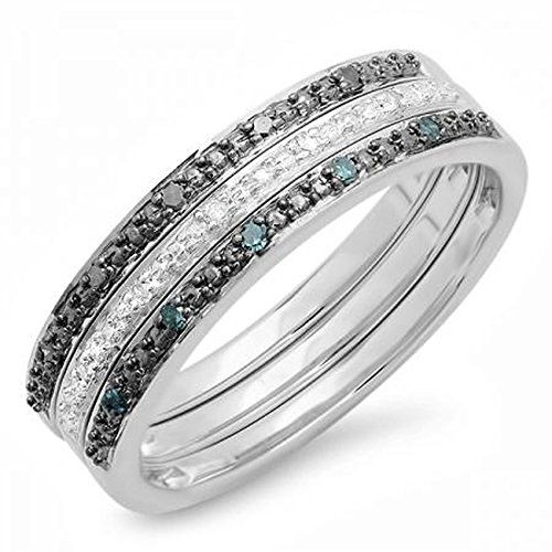 Carat Blue And White Diamond Ring In Sterling Silver
