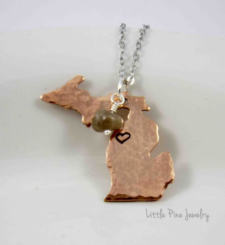 Michigan Necklace, Love Michigan, Michigan Jewelry, State of Michigan, Michigan Girl, Michigan Pendant, Michigan, Hand Stamped Necklace by LittlePineJewelry on Etsy https://www.etsy.com/listing/198996017/michigan-necklace-love-michigan-michigan