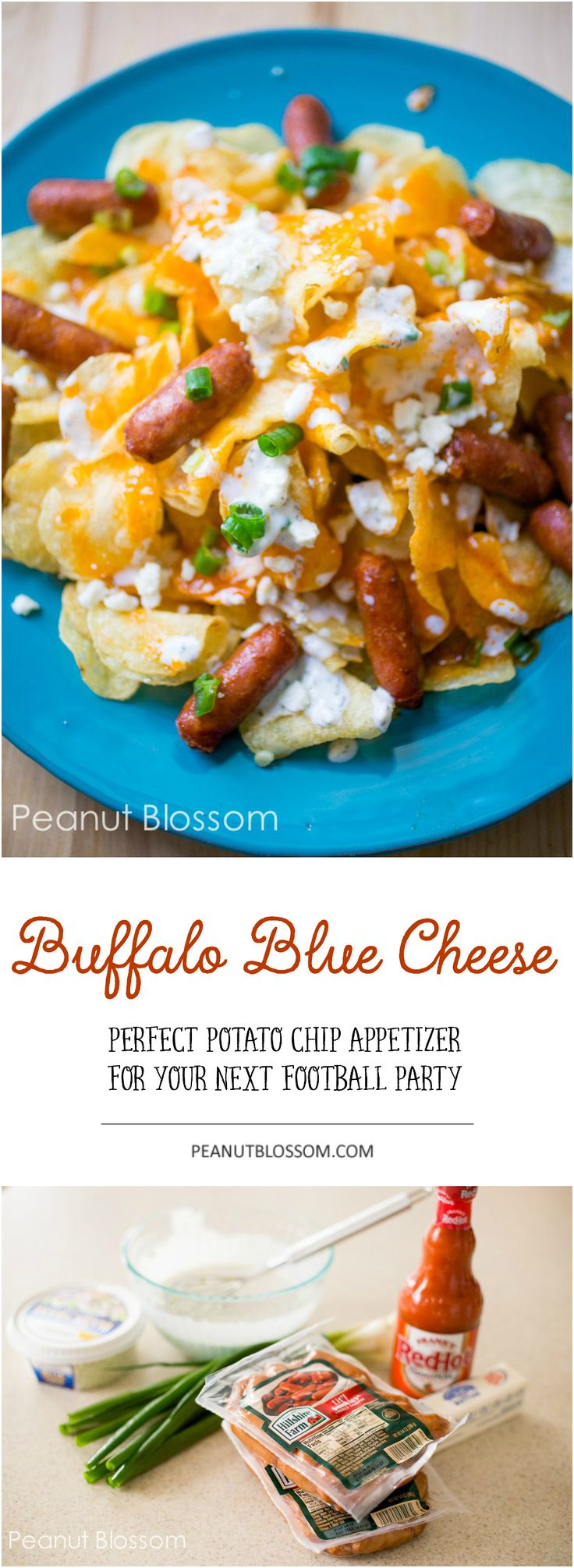 Skip the nachos at your next football party and try this awesome Little Smokies recipe instead! Buffalo blue cheese potato chips with Little Smokies. This plate disappeared in a hurry during the last game. The guys couldn't get enough of it. Perfect Super Bowl snack!