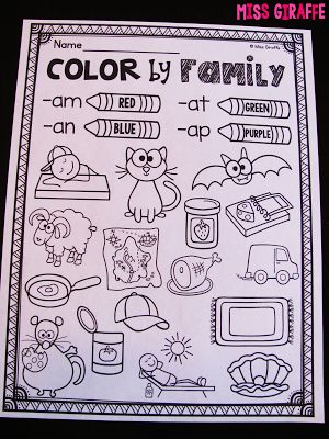 Color by word family and a ton of other great short a ideas