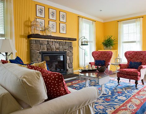 Lovely Living Room In Crayon Colors Two Red Wing Chairs Covered In  Vintage Inspired Floral Fabric Contrast With Walls Wainscoted In Taxicab  Yellow. Part 32