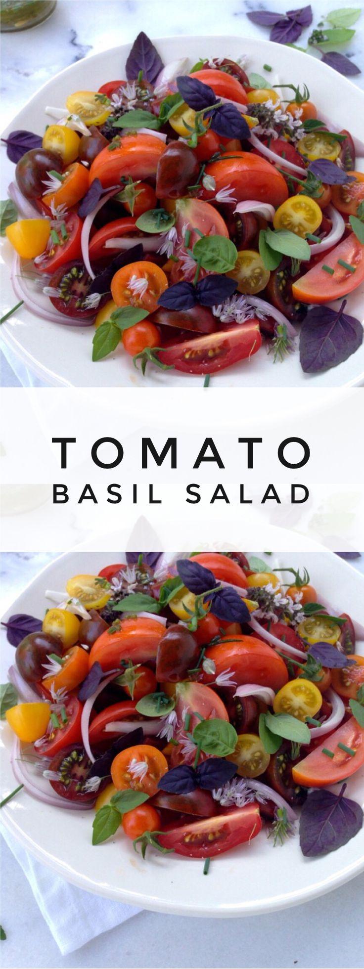 Tomato Basil Salad with Chive Vinaigrette Recipe | CiaoFlorentina.com @CiaoFlorentina
