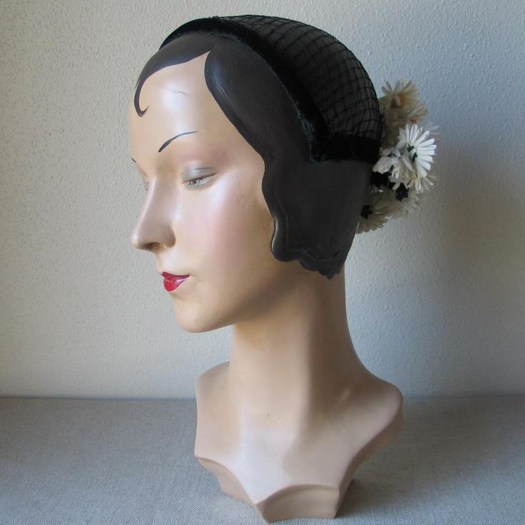 Vintage Spring Summer White and Black Daisy Flower Headband Novelty Hat