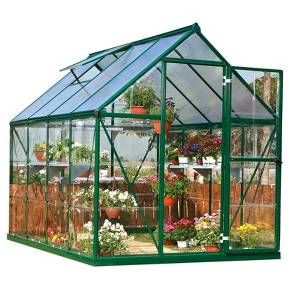 If you have greenhouse-envy, be envious no more as you can own the Palram Nature Greenhouse in Forest Green (6'x8'x7'). Unlike some greenhouse kits, Palram gave careful and deep consideration to creating an ideal freestanding greenhouse. The smart and clean design doesnt take away from your existing décor, it enhances it. Panels slide into the durable aluminum frame to maintain level temperature throughout and to diffuse the light for sensitive plants. Grow ...