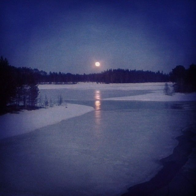 Go skating, xc skiing or snow shoeing under the full moon. Real moonshine country, Sorsele in Swedish Lapland. #nightlife