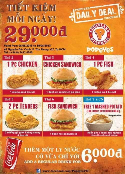 Tiết kiệm mỗi ngày chỉ với 29.000 đ tại nhà hàng Popeyes   Điểm Ăn Uống 365