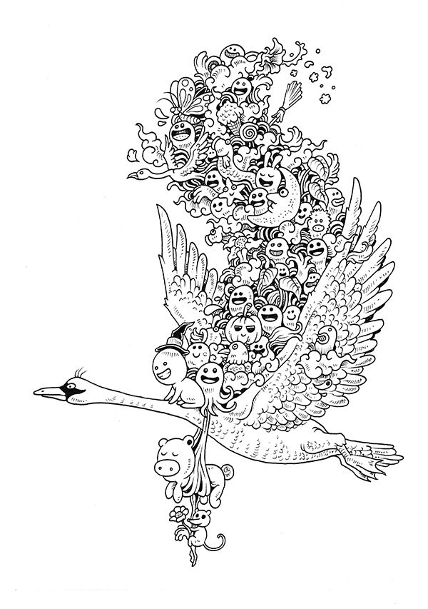 Doodle Invasion Coloring Book by Kerby Rosanes, via Behance                                                                                                                                                                                 Plus