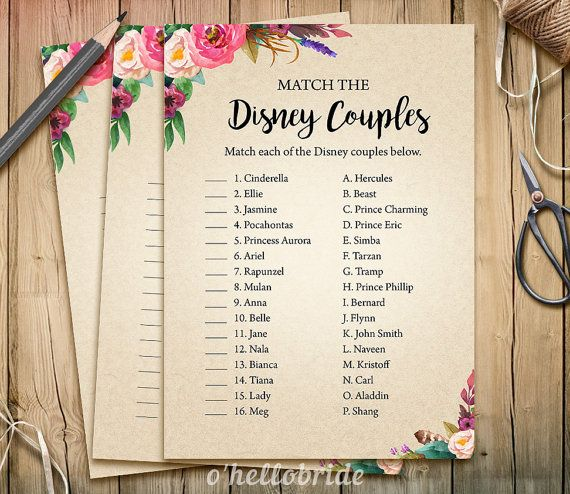 Disney Couples Match Game  Printable Boho Bohemian by ohellobride