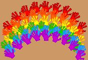 St. Patty's Day Rainbow made with kids hand prints.  Such a cute idea for teachers!