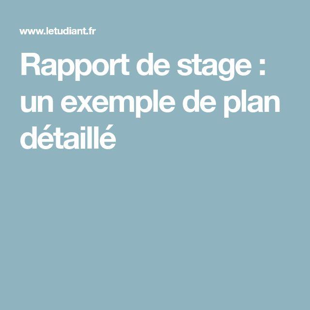 Rapport de stage : un exemple de plan détaillé