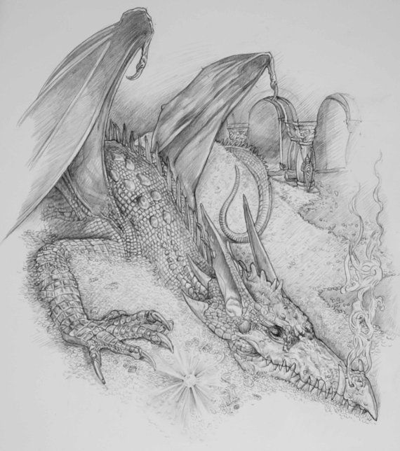 The Hobbit art Tolkien print Smaug the Dragon by stephenwalshart